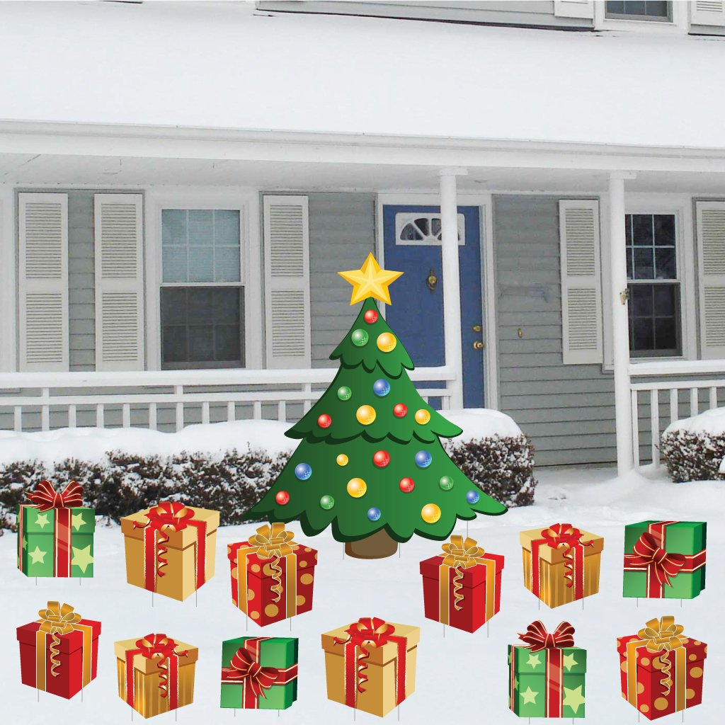 victorystore yard sign outdoor lawn decorations christmas tree with presents christmas lawn display