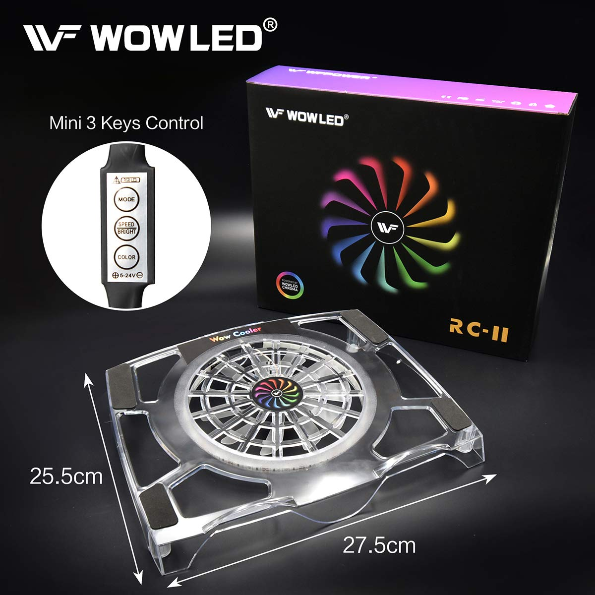 WOWLED Upgrade Sturdy LED Cooling Cooler Fan 3-Key Mini Controller PS4 Accessories Pro Cooling Fan, Xbox One X 360 Playstation 4 Sony Game Console PC, All-in-One USB RGB LED Fan Pad Stand Coolers by WOWLED (Image #5)