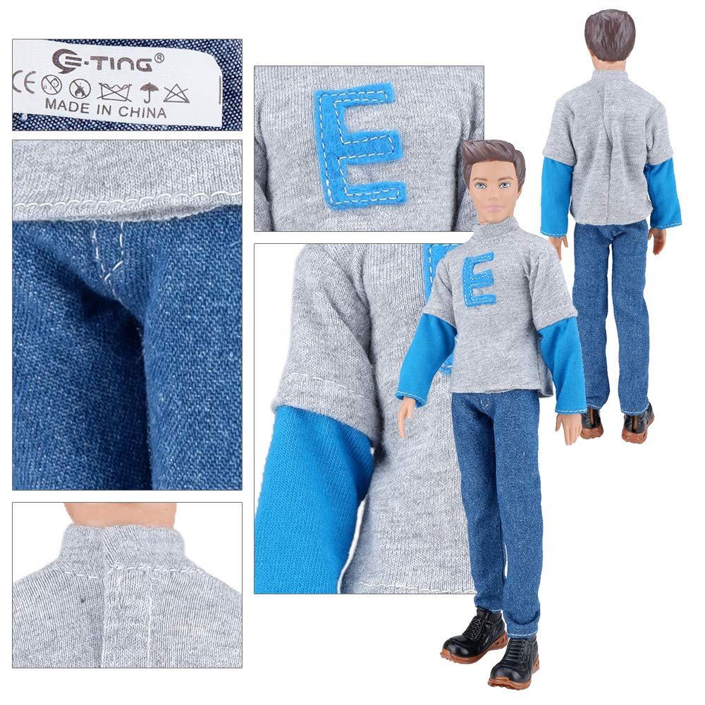 E-TING 3 Sets Casual Wear Shirt Doll Clothes Jacket Pants Outfits for 12 inches boy Dolls Gift (Casual Shirt)