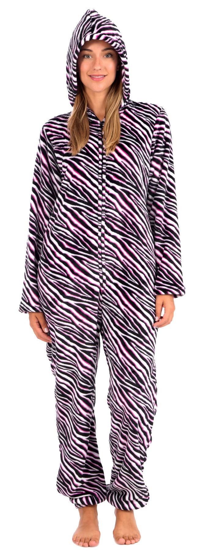 Body Candy Women's Plush Adult Animal Hood Onesie Pajama (Pink Zebra, Small) by Body Candy Loungewear