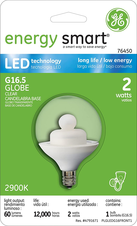 Amazon.com : GE 76450, Energy Smart LED Bulb, 2-Watt Globe, Clear, Candelabra Base, G16.5 LED Bulb, 1-pk, 120-Volt : Grocery & Gourmet Food