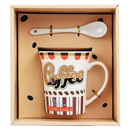 Tuelip Ceramic Mug with Spoon for Tea & Coffee Printed Mug (Multi Design Mug) 270 ml