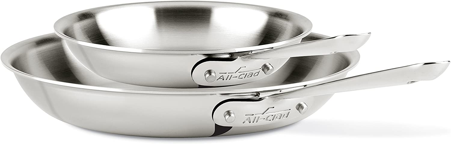 All-Clad D3 Stainless Steel Frying Pan, 10 and 12 Inch Cookware Set, Silver, 8-Inch Inch