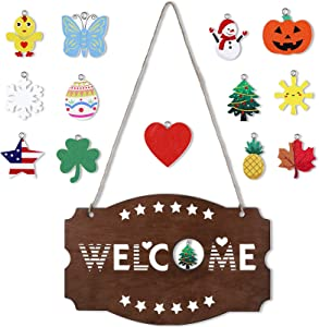 Interchangeable Seasonal Welcome Sign Rustic Front Door Decor Wall Hanging Signs Wooden Plaque Farmhouse Porch Wall Hanger Welcome Sign for Halloween Christmas Home Party Decor, 14 x 9 Inch