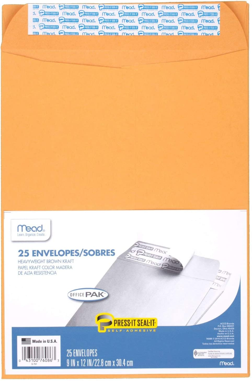 """Mead Envelopes, Press-It Seal-It, 9"""" x 12"""", Self Adhesive, Office Pack, Brown Kraft, 25-Pack (76086) : Large Format Envelopes : Office Products"""
