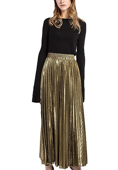 Mujer Faldas Faldas Largas Fiesta Plisadas Cintura Alta Elegantes ...