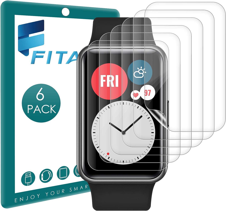 FITA 6 Piezas Película Protectora Compatible con Huawei Watch Fit/Honor ES Protector de Pantalla, 99,99% HD Flexible TPU Resistente Arañazos Película Compatible con Huawei Watch Fit Smartwatch