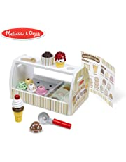 Melissa & Doug Wooden Scoop and Serve Ice Cream Counter (28 pcs) - Play Food and Accessories