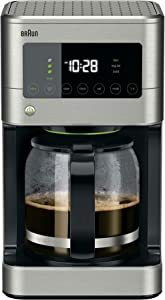Braun Brew Sense 12 Cup Touch Screen Drip Coffee Maker Machine with Brew Strength Options, 2 Hour Shut Off and 24 Hour Timer, Stainless Steel