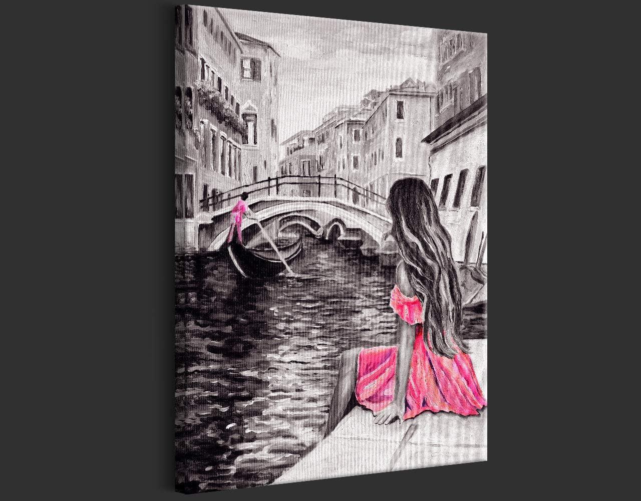 como Pintado Mujer Rosa d-B-0218-b-a 1 Parte Impresi/ón en Material Tejido no Tejido Impresi/ón Art/ística Imagen Gr/áfica Decoracion de Pared murando Cuadro en Lienzo Venecia Rio 60x90 cm