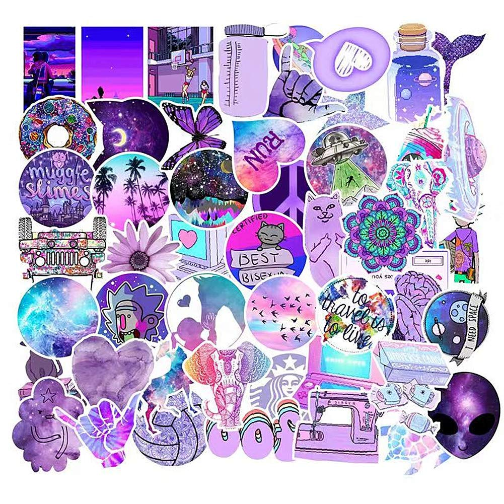 Jasion 50-Pcs Vinyl Purple Stickers Set Waterproof Cute Lovely Girls Teens Aesthetic Trendy Summer Graffiti Decals for Water Bottles Cars Motorcycle Skateboard Portable Luggages Ipad Laptops