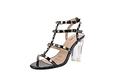 619bf65bc456 Mila Lady Erin 08 Womens Sexy Studded Lucite Clear Block Chunky Heel  Sandals Dress Shoes