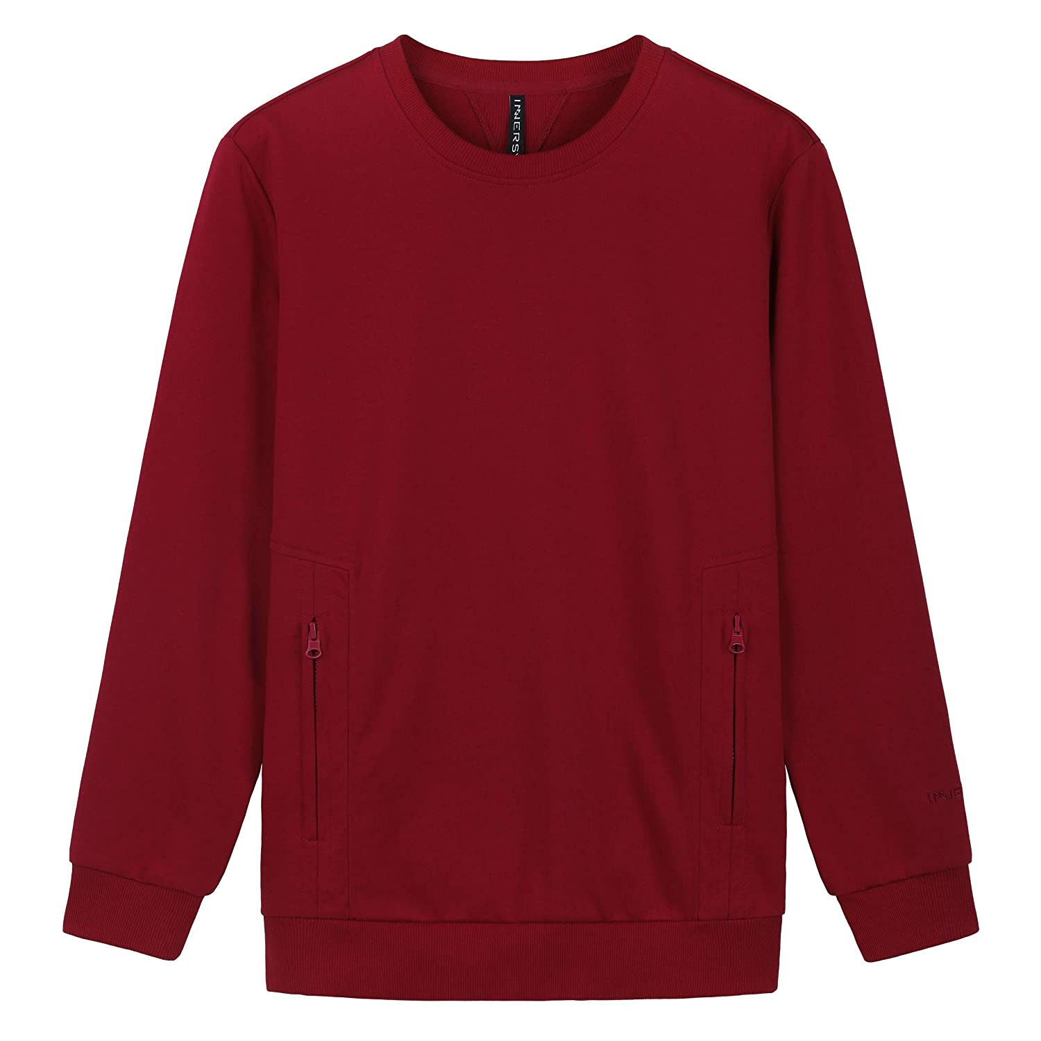 INNERSY Men's French Terry Cotton Crewneck Sweatshirt Pull-Over with Pockets
