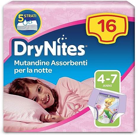 1 Pacco da 16 Pezzi Huggies DryNites Mutandine Assorbenti per la Notte 17-30 kg 4-7 Anni