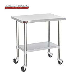 """DuraSteel Stainless Steel Work Table 24"""" x 36"""" x 34"""" Height w/ 4 Caster Wheels -Food Prep Commercial Grade Worktable - NSF Certified - Good For Restaurant, Business, Warehouse, Home, Kitchen, Garage"""
