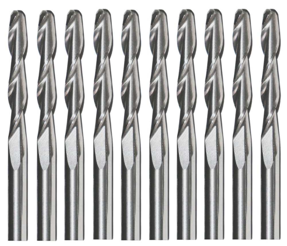 Ball Nose End Mills,Yeeco 1 8 2 Flutes Ball Nose Carbide Engraving Cutter CNC Router Bits Spiral Set Tool Pack of 10 3.175mm 22mm