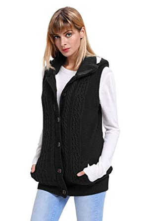 1rry01 Ladies  Sleeveless Hooded Pocket Knit Zipper Button Down Sweater  Coat with Fuzzy Inside ( 2e2785284