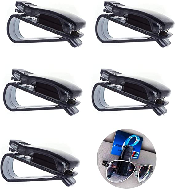 Car Auto Sun Visor Glasses Sunglasses Card Ticket Holder Clip Universal Black