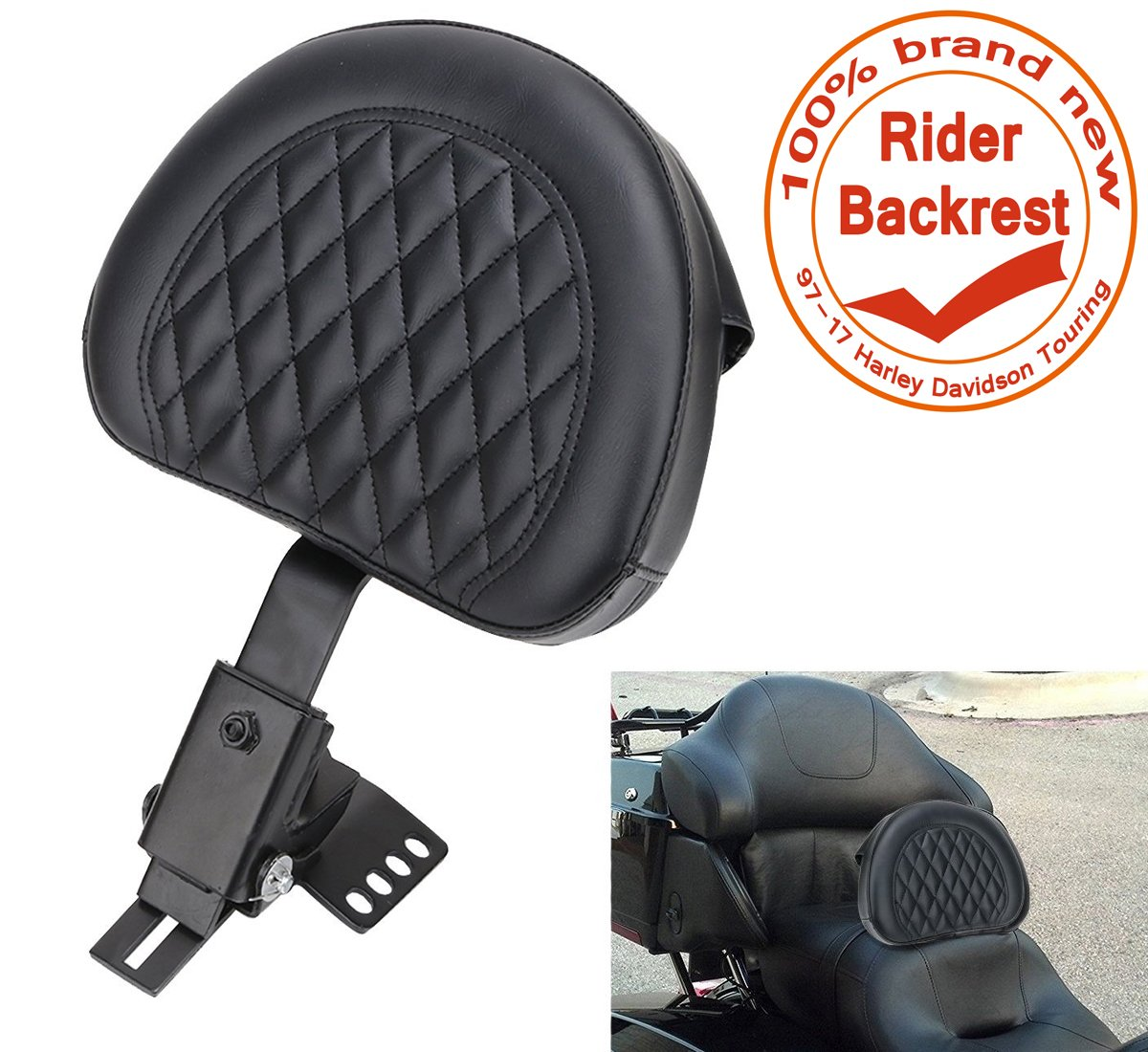 E-Most New Plug-In Diamond Stitching Driver Rider Backrest Black Detachable Adjustable (Bracket&Leather Pad) for 1997-2017 Harley Davidson Touring models