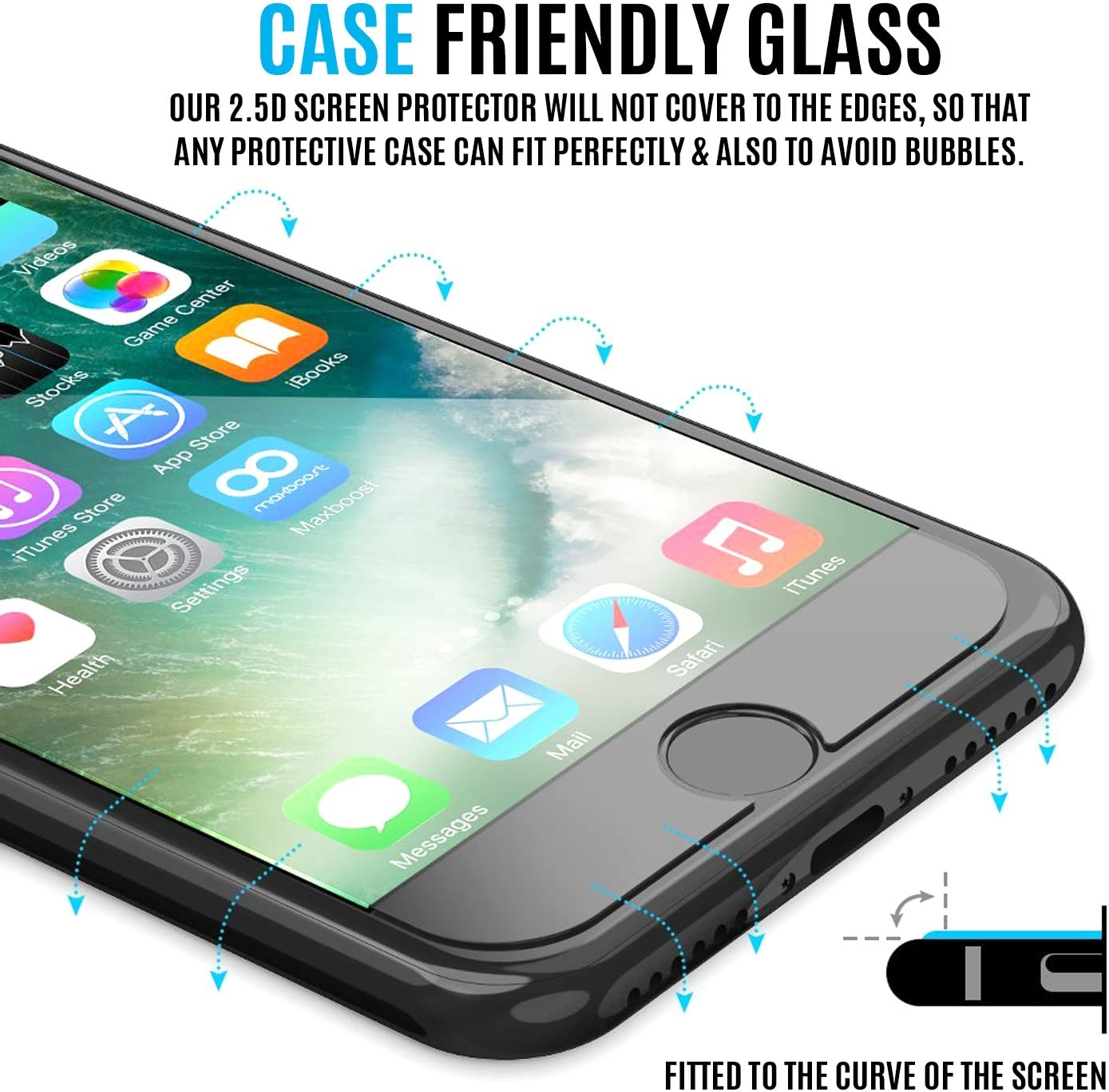 Tempered Glass Temperd Glass BWEAGLE for iPhone 7 Plus//iPhone 8 Plus 100- Pack Screen Protector