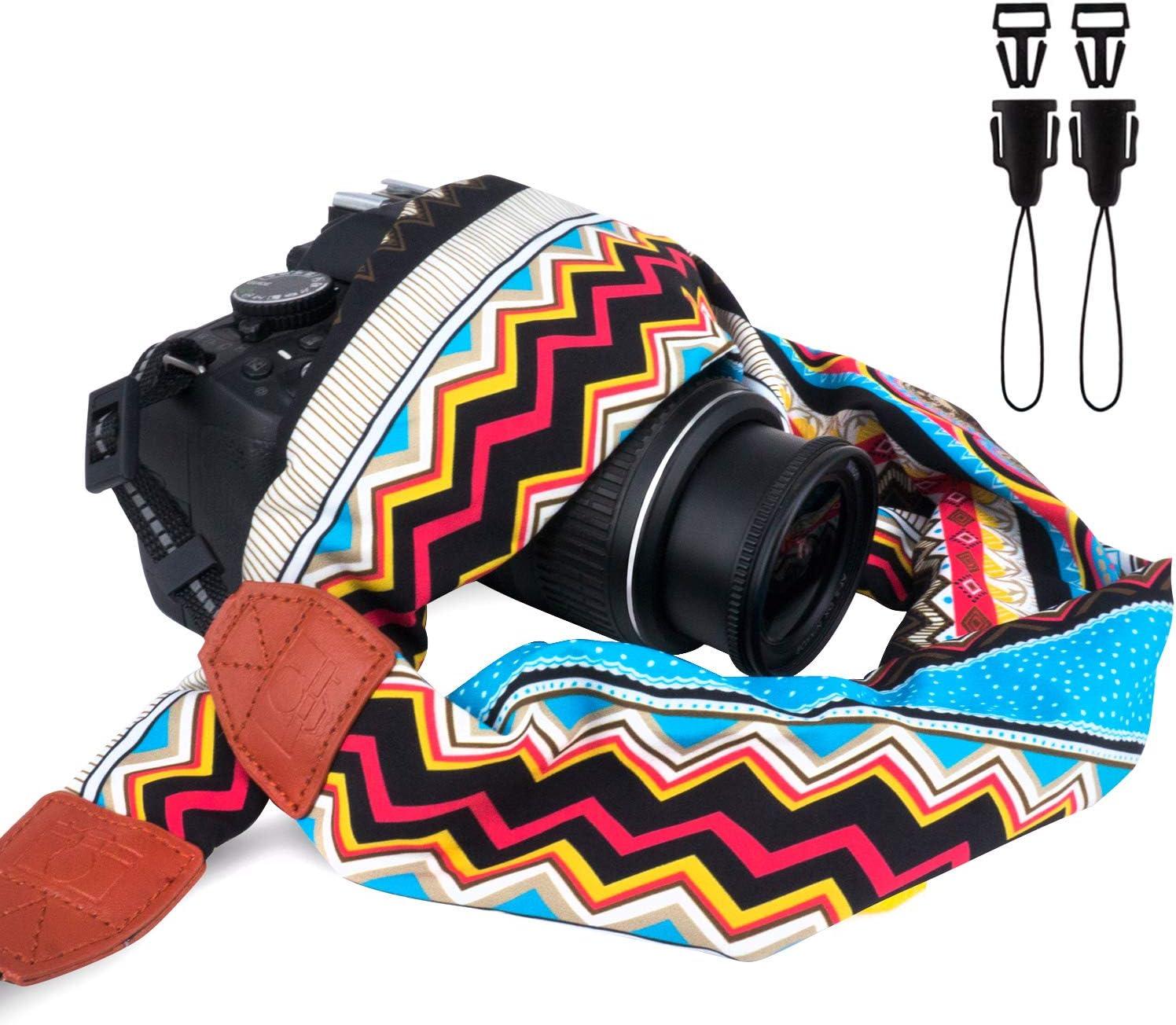Elvam Universal Men and Women Scarf Camera Strap Belt Compatible with All DSLR Camera, SLR Camera, Instant Camera and Digital Camera - Stripe