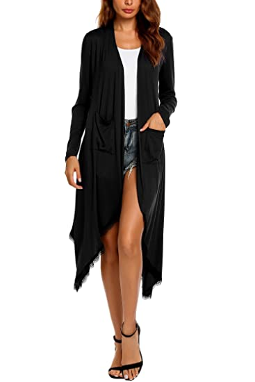 Women s Long Sleeve Waterfall Patchwork Open Long Maxi Cardigan with  Pockets (S aa57b6d14