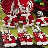 Mbuynow 6 piezas Santa de Navidad bolsillos para cubiertos, Decoracion Navidad Papa Noel Adornos Navideños