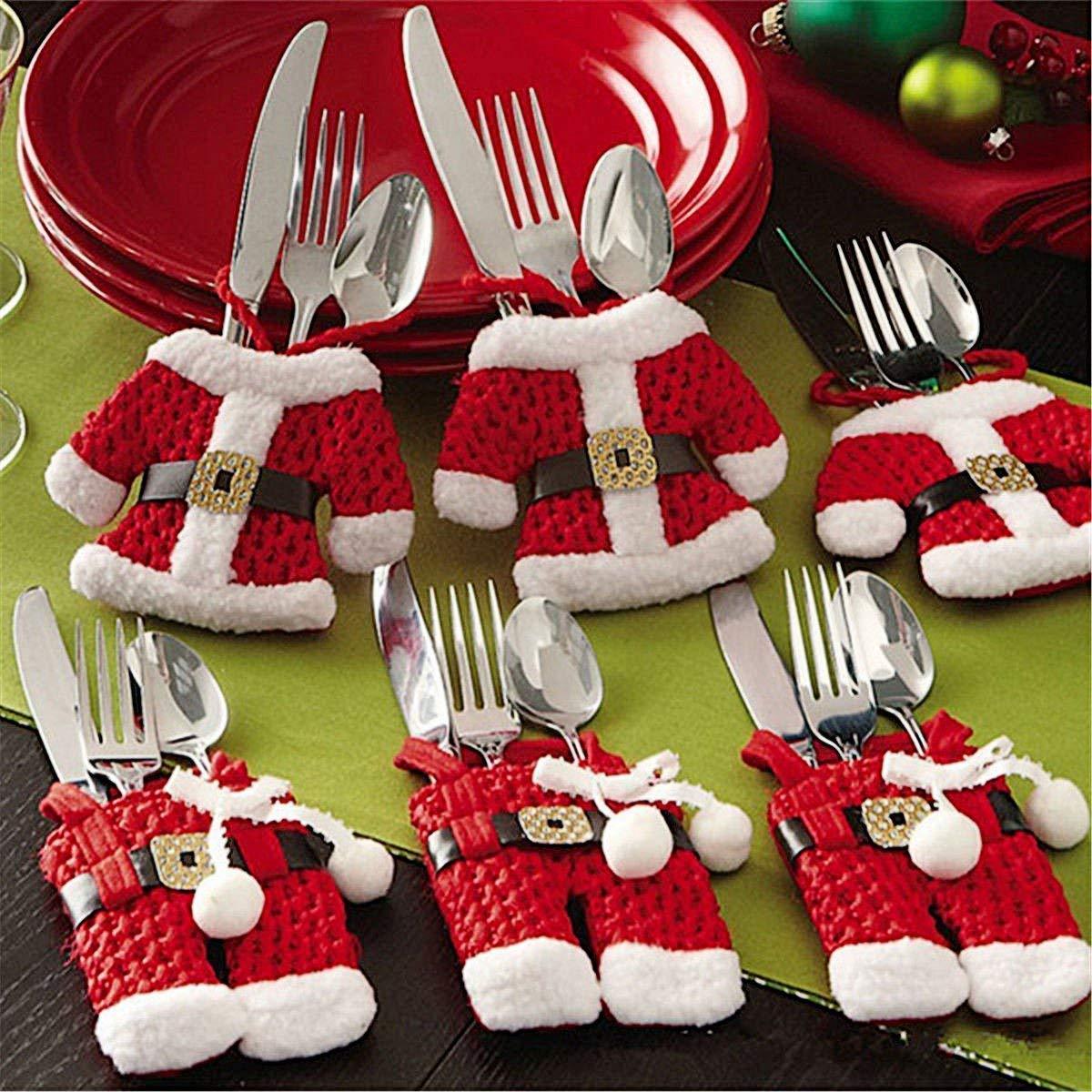 Mbuynow Insieme di 6 Babbo Natale Vestito di Tasche Porta Posate Zogin