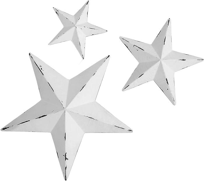 YL Crafts - Metal Star Wall Decoration Mounted Wall Art 3pcs/set (White)