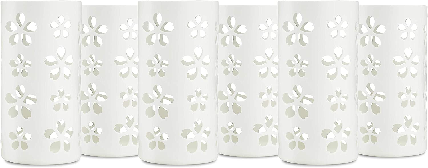 Silicone Glass Water Bottle Sleeves - 6-Pack of Protective Holders 16-18 oz Capacity - Anti-Slip Protection for Beverage Containers - Insulating Carriers for Smoothies and Juices (White Flowers)