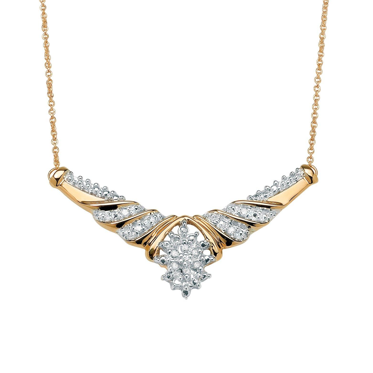 White Diamond 10k Gold Cluster Chevron Necklace (.10 cttw, HI Color, I3 Clarity) 16''