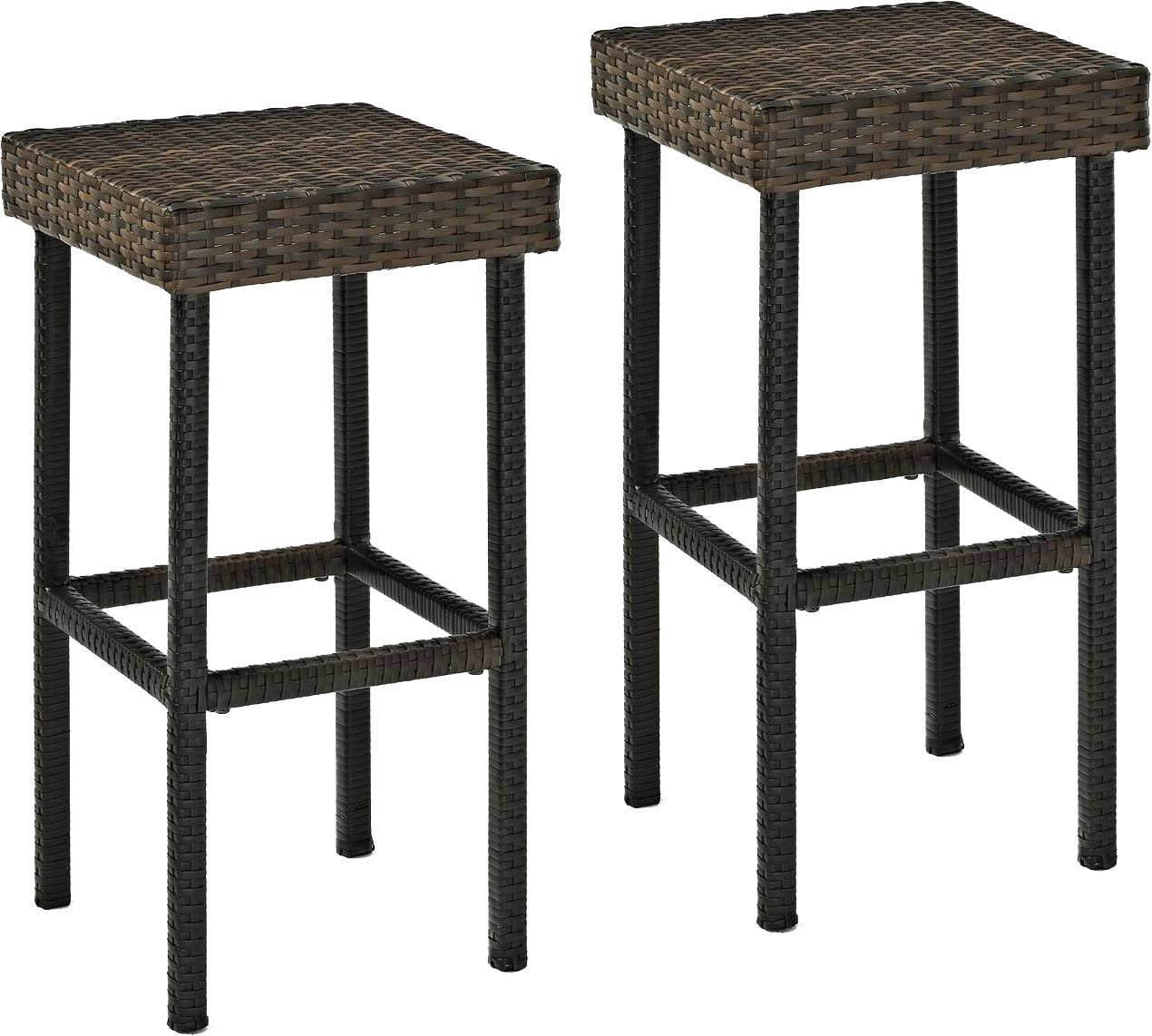Crosley Furniture CO7108-BR Palm Harbor Outdoor Wicker 29-inch Bar Height Stools, Set of 2, Brown