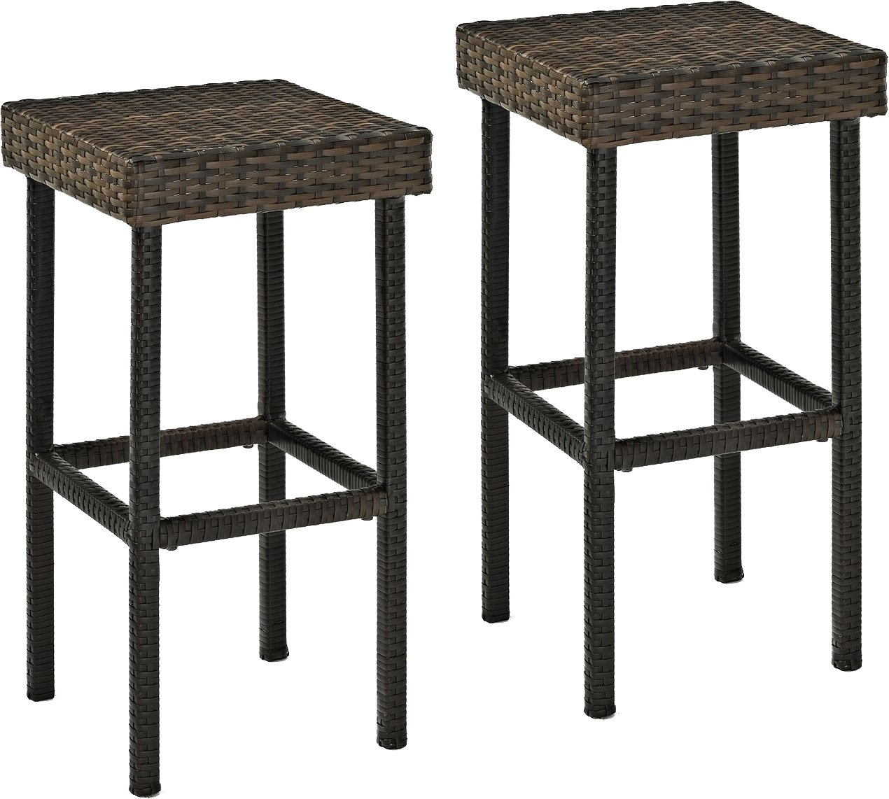 Crosley Furniture Palm Harbor Outdoor Wicker 29-inch Bar Stools – Brown Set of 2