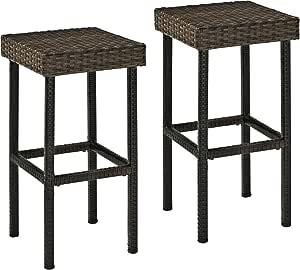Crosley Furniture Co7108 Br Palm Harbor Outdoor Wicker 29 Inch Bar Height Stools Set Of 2 Brown Garden Outdoor Amazon Com
