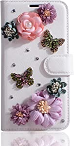 Lenovo K8 Note Case,Gift_Source [Card Slots] Luxury Bling Glitter Diamond PU Leather Purse Flip Stand Cover Sparkle Crystal Rhinestone Wallet Case for Lenovo K8 Note (5.5 inch) [Flowers Butterflies]