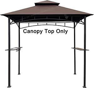 APEX GARDEN Replacement Canopy Top CAN ONLY FIT for Model #L-GG001PST-F 8' X 5' Brown Double Tiered Canopy Grill BBQ Gazebo (Canopy Top Only)