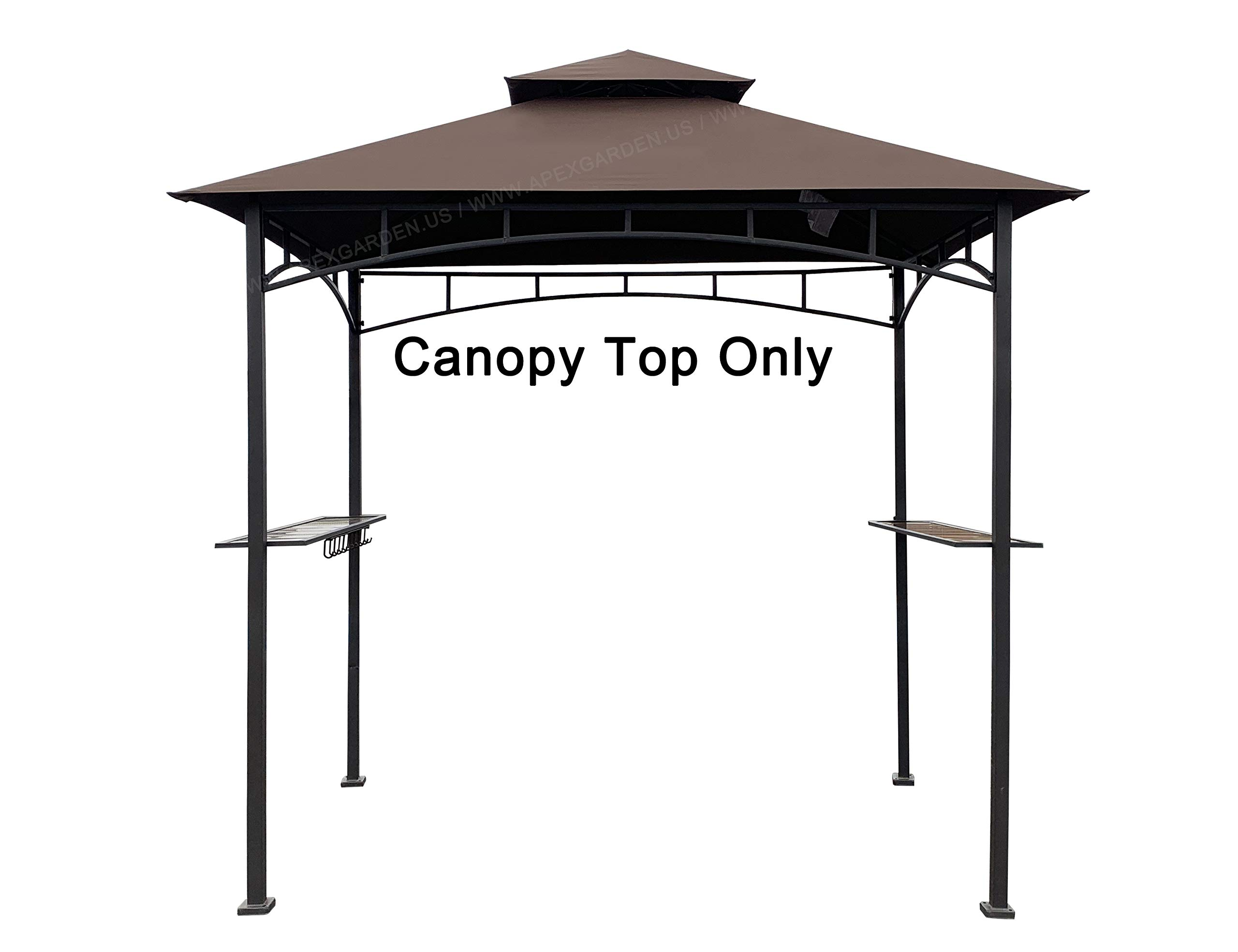 APEX GARDEN Replacement Canopy Top CAN ONLY FIT for Model #L-GG001PST-F 8' X 5' Brown Double Tiered Canopy Grill BBQ Gazebo (Canopy Top Only) by APEX GARDEN