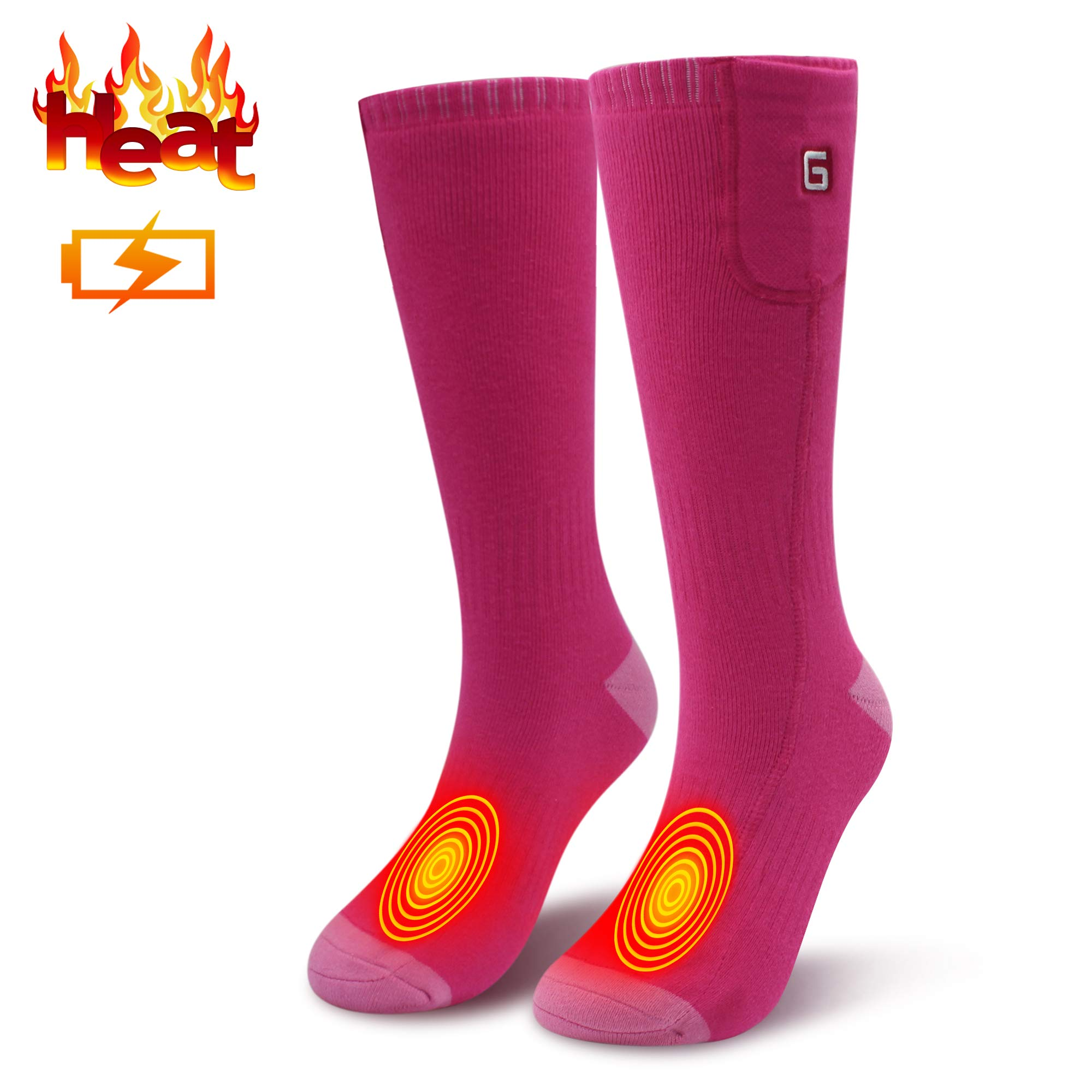 Electric Heated Socks for Men Thermal Socks Rechargeable Battery Foot Warmers Winter Ideal Presents for Men Women Perfect for Indoor Outdoor Sport Fishing/Hiking/Sleeping (Pink) by MMlove