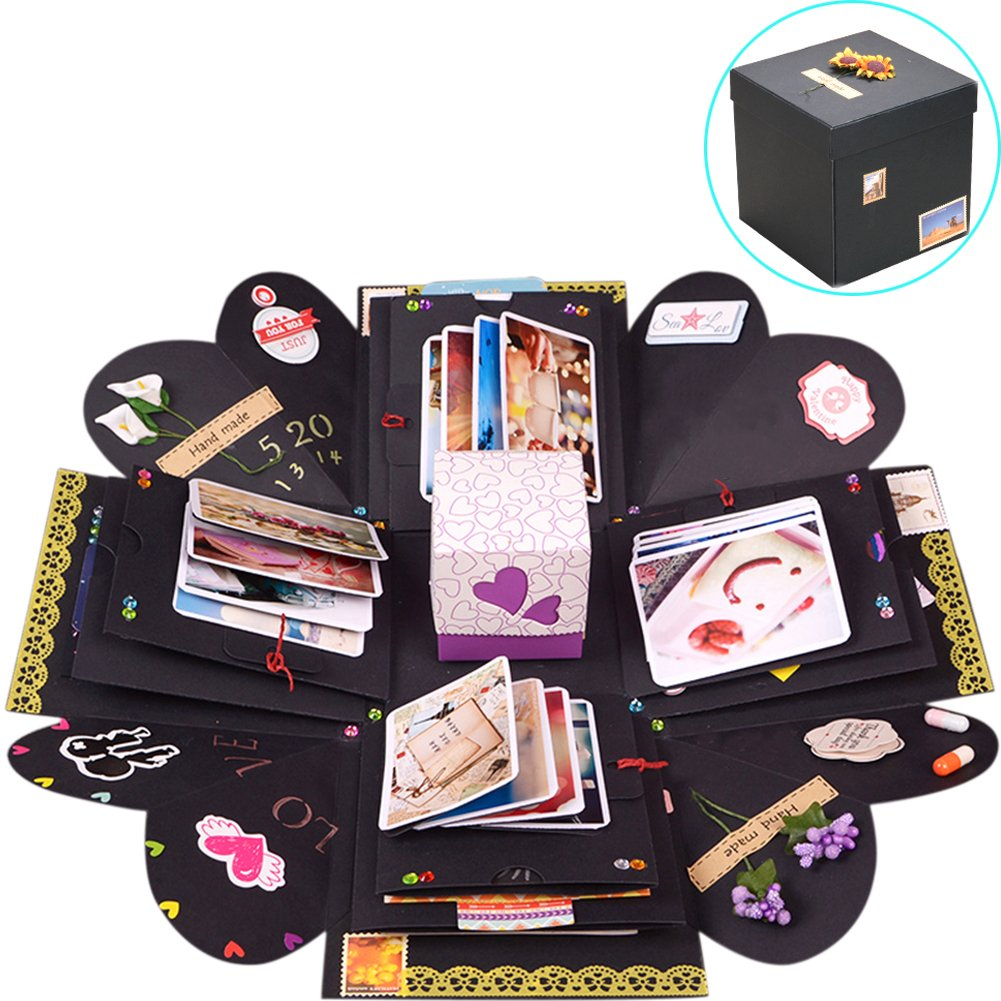 TINTON LIFE Creative DIY Explosion Box Scrapbook Photo Album with 13 Funny Cards and 15 Kinds of DIY Accessories Kit Proposal Birthday Anniversary Valentine Wedding Gift Box(Black) by TINTON LIFE