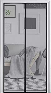 """Homitt [Upgraded Version] Magnetic Screen Door with Durable Fiberglass Mesh Curtain and Full Frame Hook & Loop Fits Door Size up to 34""""x82"""" Max- Black"""