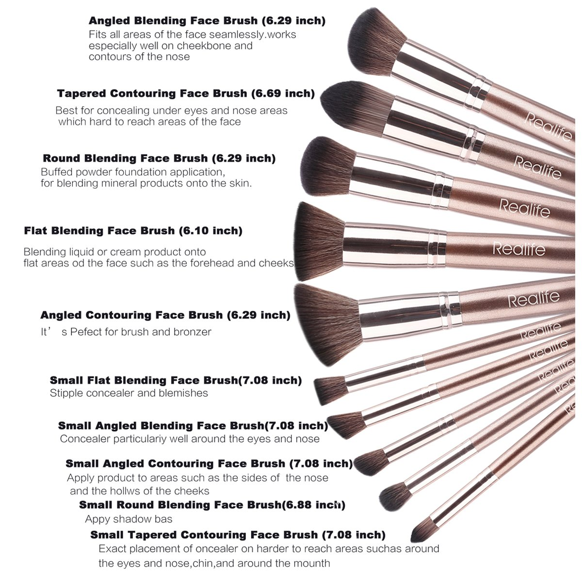 Make up Brushes Mactrem 10 Pieces Face Cosmetic Beginners Makeup Brush,Face Foundation Powder Buffing Blending Professional Face Brushes, Eyeshadow Brush Organiser with Travel Bag