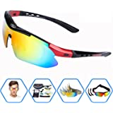EDO Polarized Sports Sunglasses for Men Women Cycling Running Driving Fishing Golf Baseball Glasses with 5 Interchangeable Lenses, Tr90 Unbreakable Frame