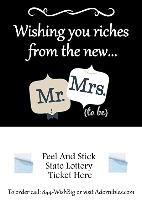 exclusive bridal shower lottery ticket holder favors only at adornibles wishing you riches from mr