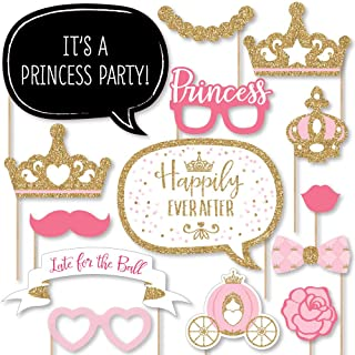 product image for Big Dot of Happiness Little Princess Crown - Pink and Gold Princess Baby Shower or Birthday Party Photo Booth Props Kit - 20 Count