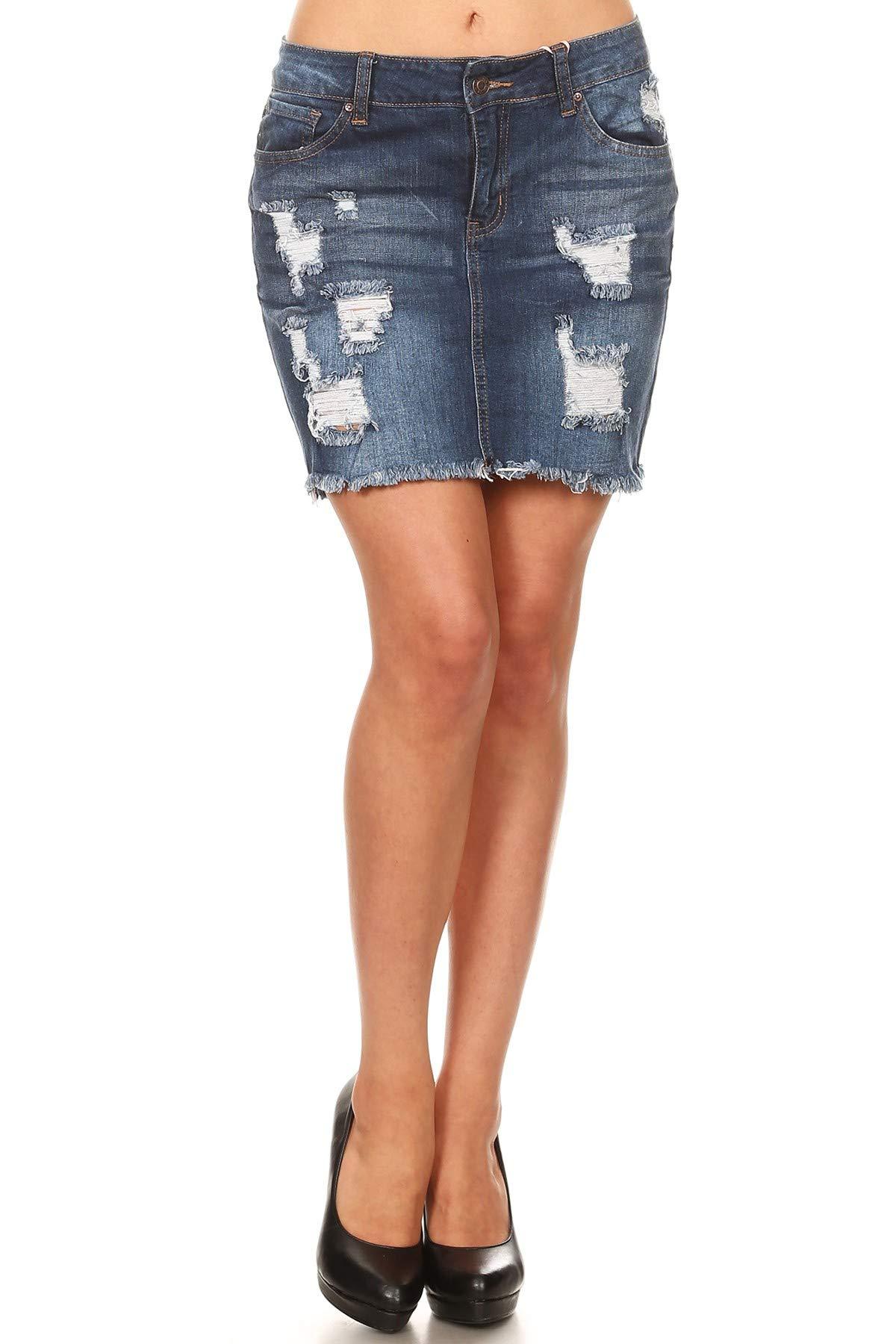 Wax Women's Juniors Vintage Casual Distressed A-Line Denim Short Skirt (Small)