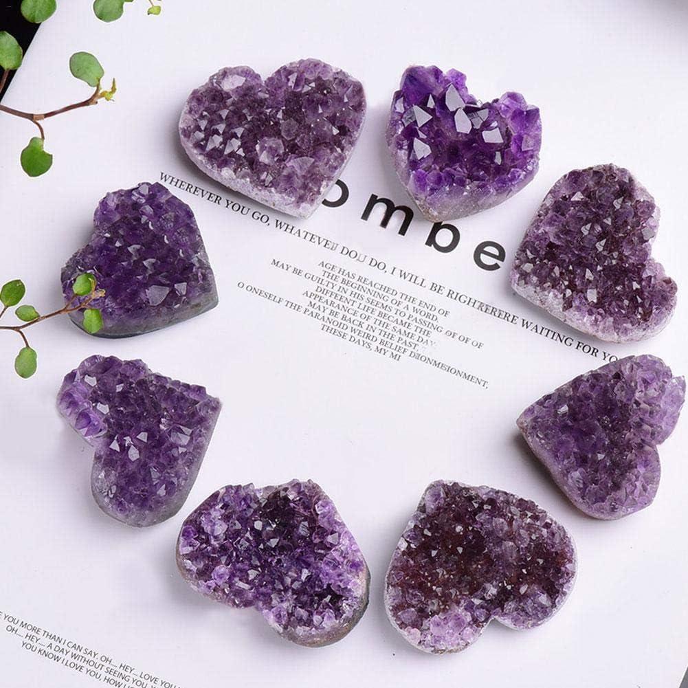 wisedwell Amatista Piedra Natural Forma de Corazón Cristal de Cuarzo Piedra Curativa para la decoración del hogar, Colección de Adornos