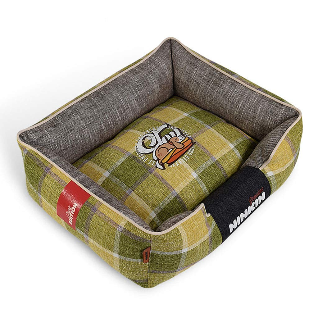35×45cm GREEN 35×45cm GREEN KYCD pet bed Pet Mat,Pet Bed for Cats Dogs,Soft Comfy Cat Dog Bed with Removable Cushion,Small & Medium & Large,Warm Luxury (color   GREEN, Size   35×45cm)