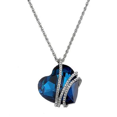 d516c332eaab1 Amazon.com: Big Blue Heart Heart of Ocean Women's Fashion Jewelry ...