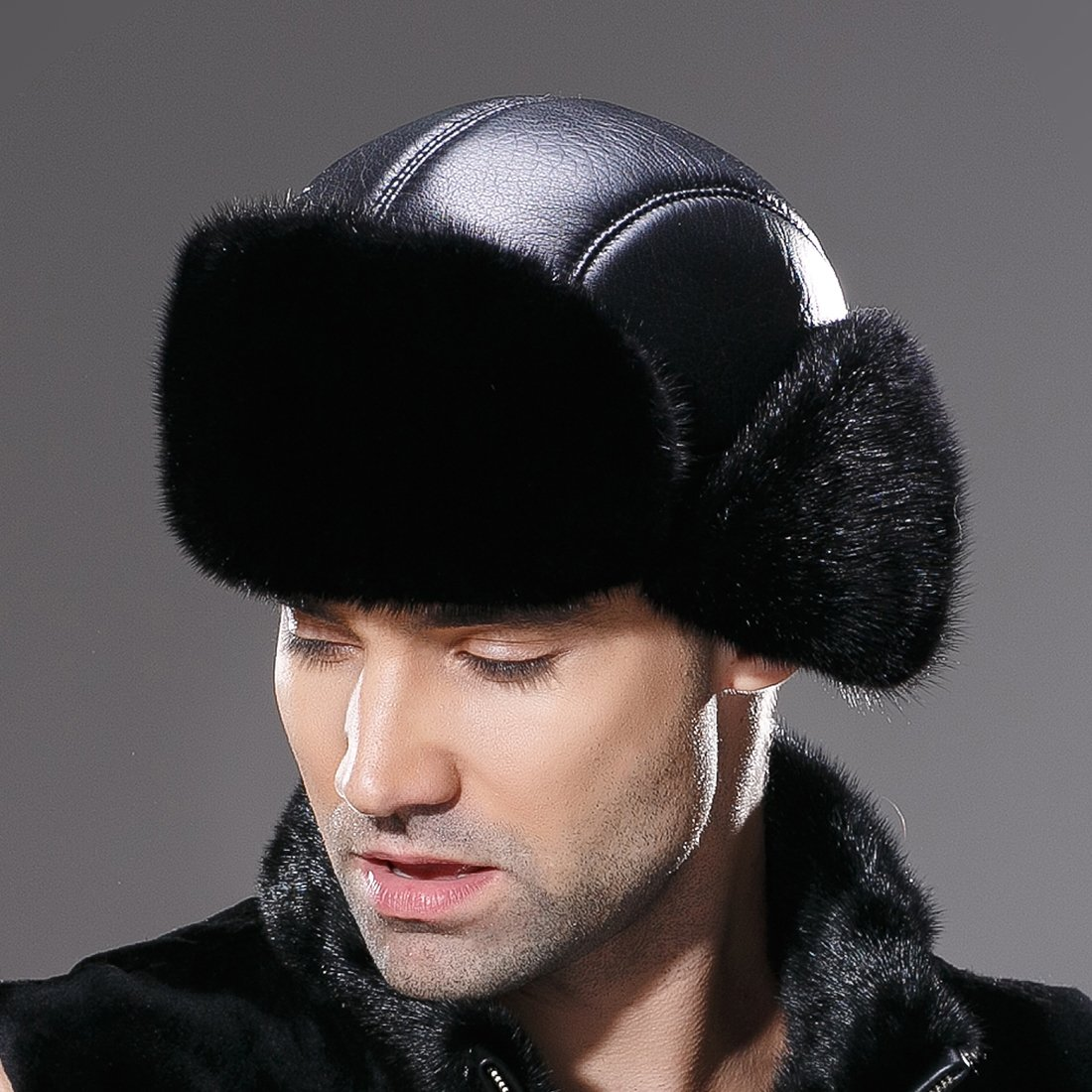 URSFUR Winter Leather Men Fur Hat Real Mink Fur Russian Trapper Hats Black by URSFUR (Image #6)