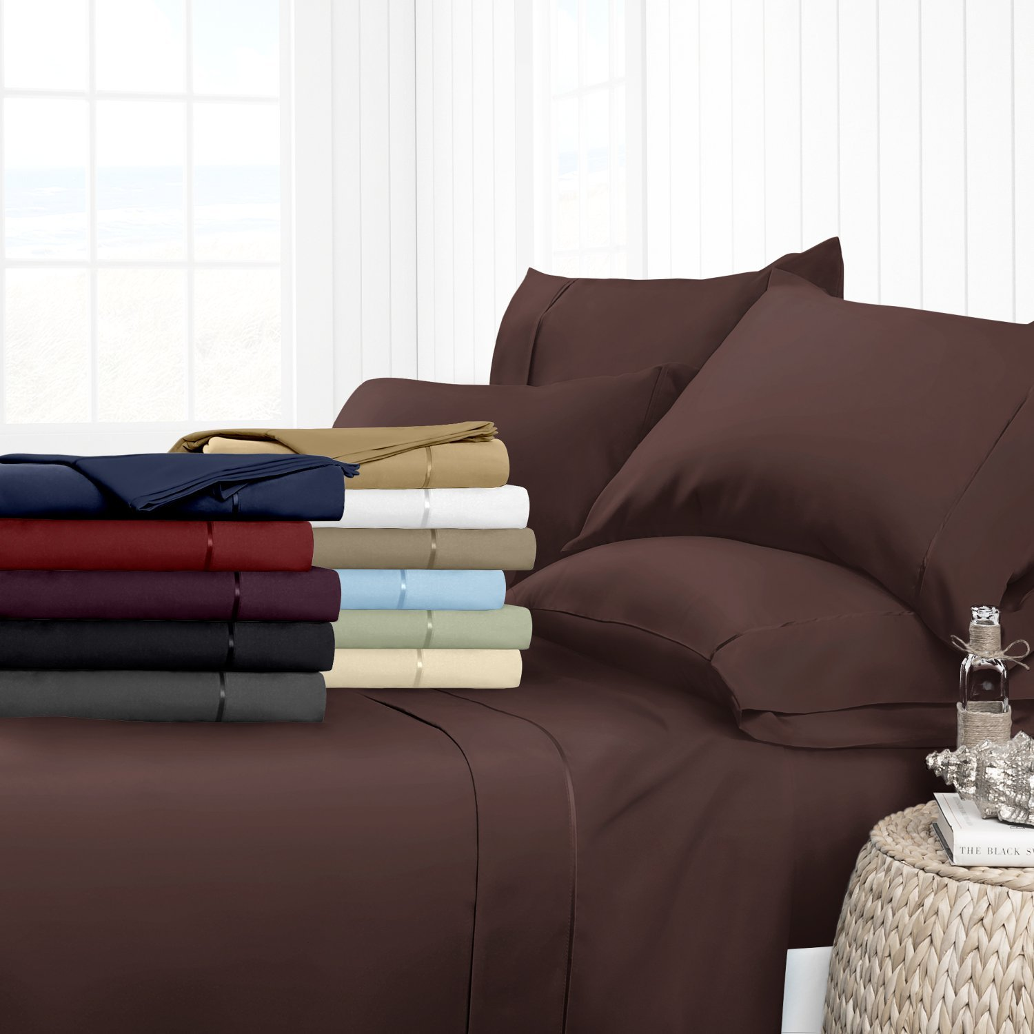(Twin, Chocolate) Egyptian Luxury 1700 Hotel Collection 4-Piece Bed Sheet Set Deep Pockets, Wrinkle and Fade Resistant, Hypoallergenic Sheet and Pillow Case Set Twin, Chocolate B076VQ8942 ツイン|チョコレート チョコレート ツイン